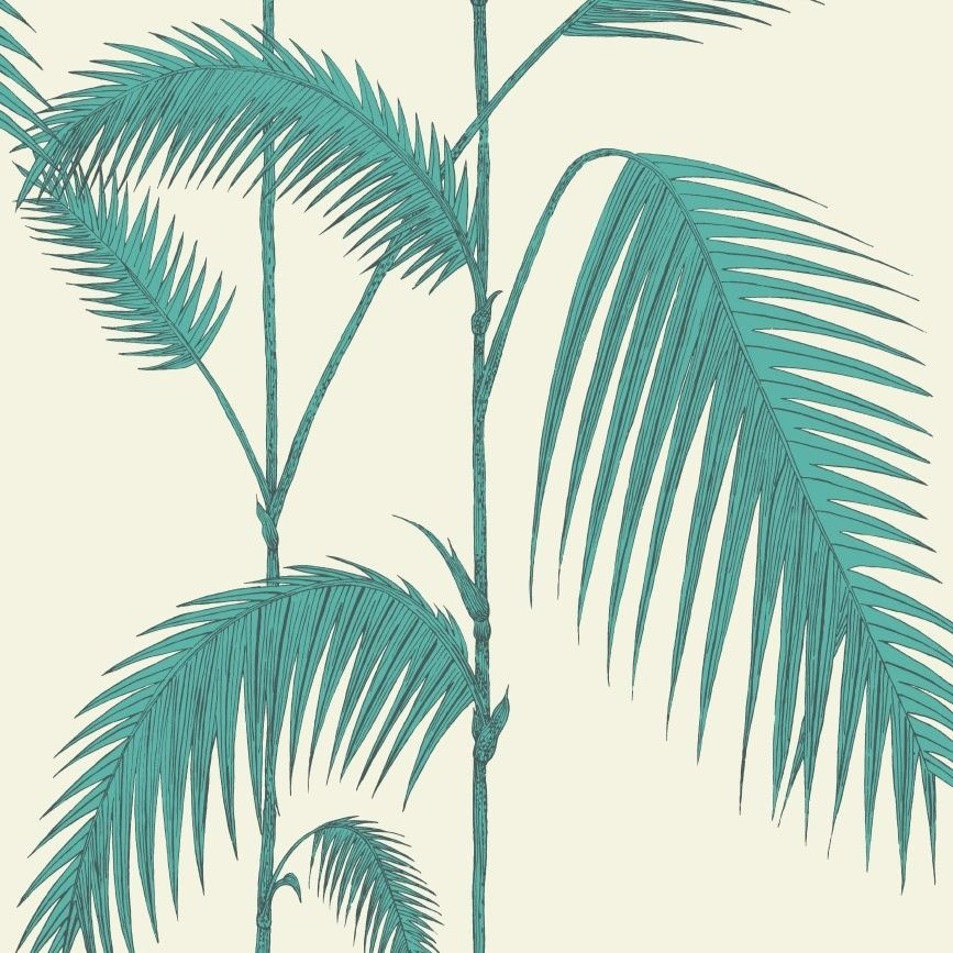 Teal and white palm leaves