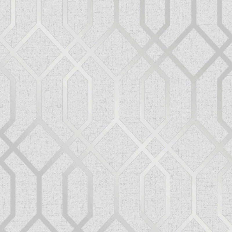 Quartz Silver Geometric Trellis Wallpaper