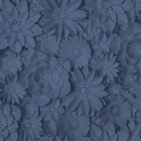 Dimensions 3D Flower Print Blue Wallpaper