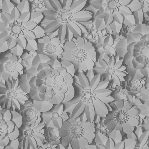 Dimensions 3D Flower Print Grey Wallpaper