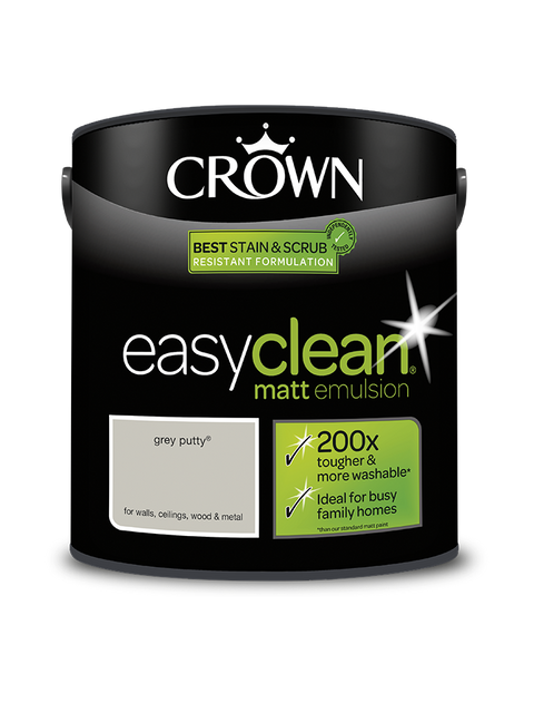 2.5L Crown Easyclean Matt Emulsion - Grey Putty