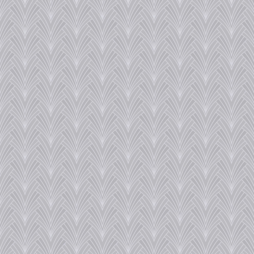 Gatsby style grey and silver art deco fan wallpaper