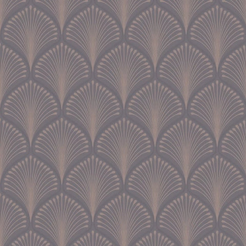 Charcoal grey and rose gold art deco fan pattern wallpaper