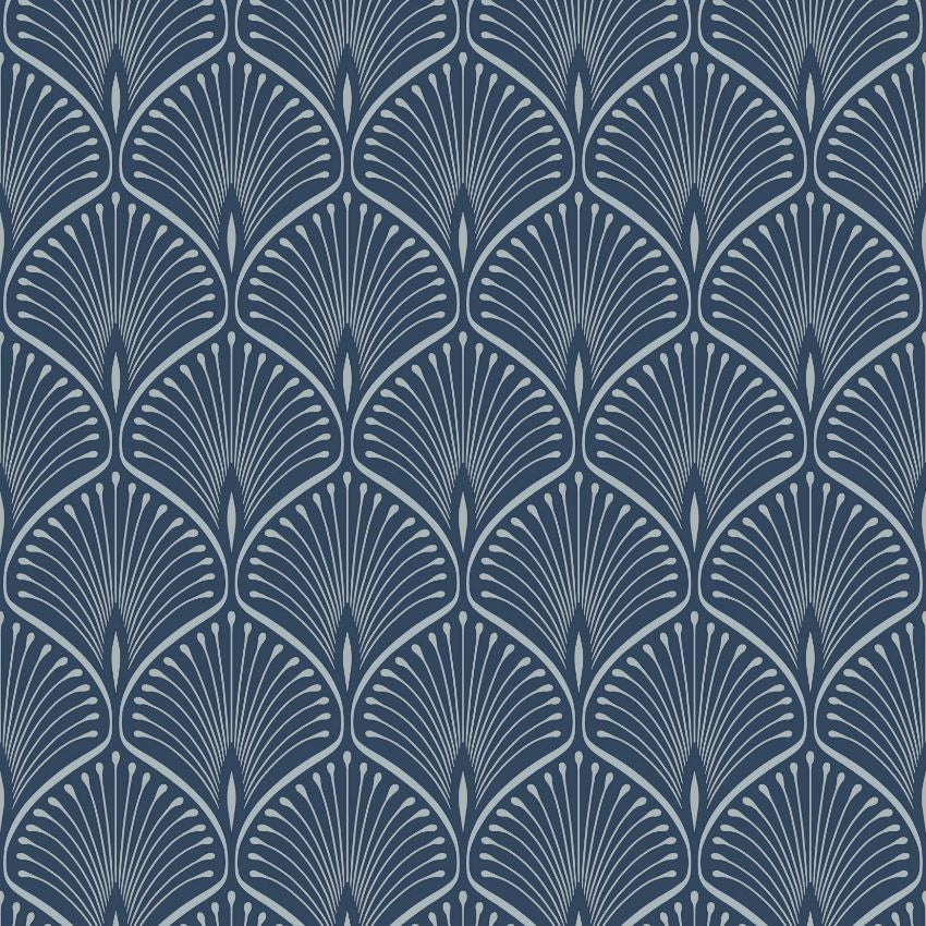 Navy blue and silver art deco fan pattern wallpaper