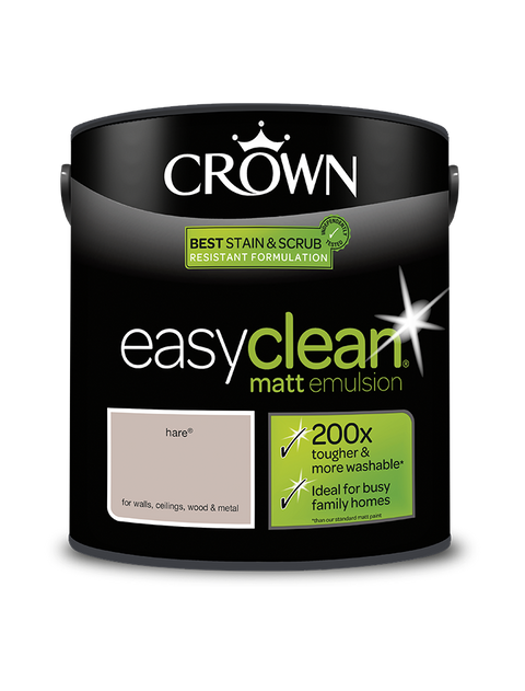 2.5L Crown Easyclean Matt Emulsion - Hare