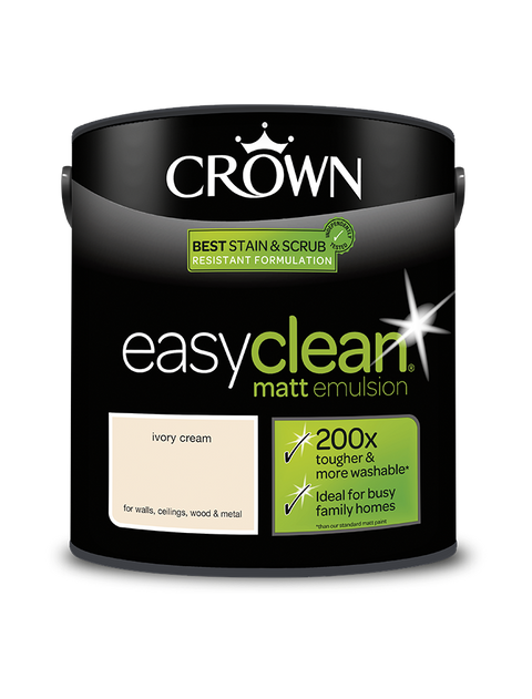 2.5L Crown Easyclean Matt Emulsion - Ivory Cream