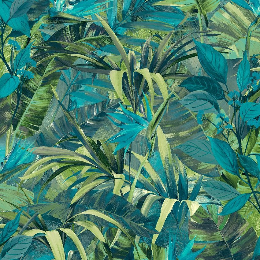 Blue and green jungle leaves wallpaper