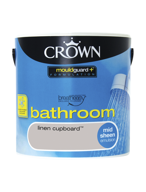 2.5L Crown Bathroom Mid Sheen Emulsion - Linen Cupboard
