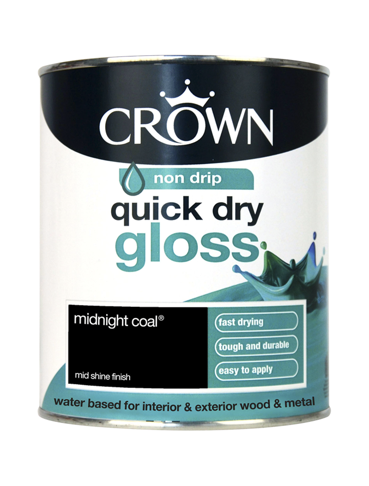 750ml Crown Quick Dry Gloss - Midnight Coal