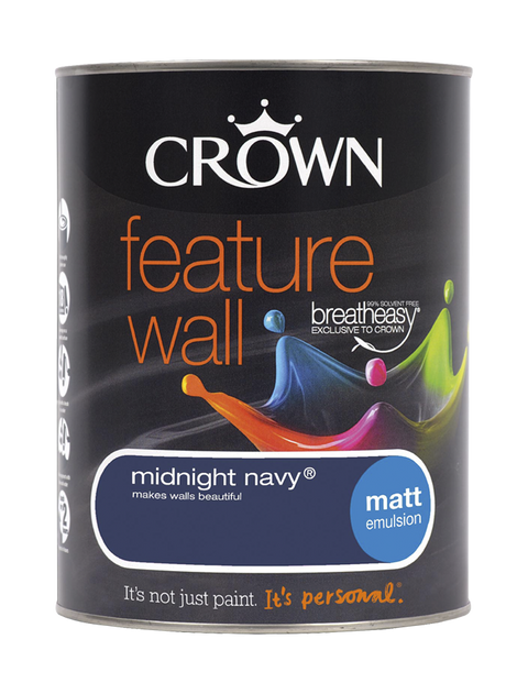 1.25L Crown Feature Wall Matt Emulsion - Midnight Navy