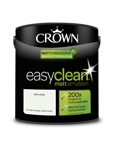 2.5L Crown Easyclean Matt Emulsion - Milk White