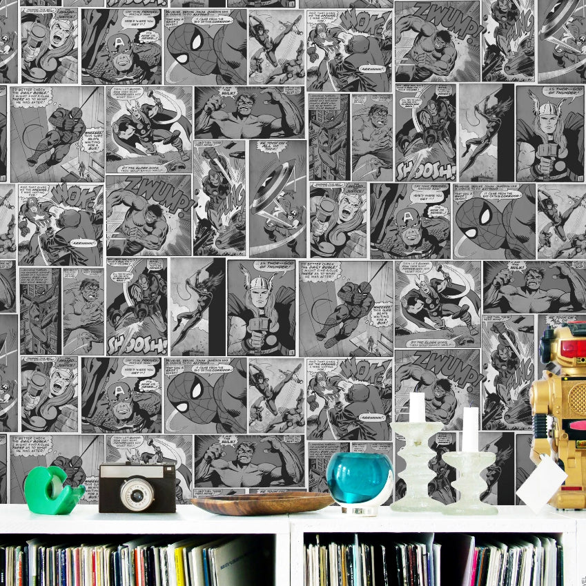 Marvel Avengers black and white comic strip wallpaper in bedroom