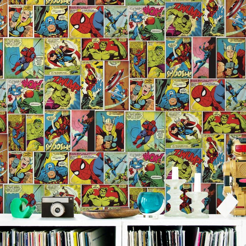 Marvel Avengers multicoloured comic strip wallpaper in bedroom