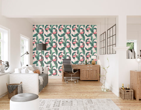 Flamingo Leaf Repeat Mural