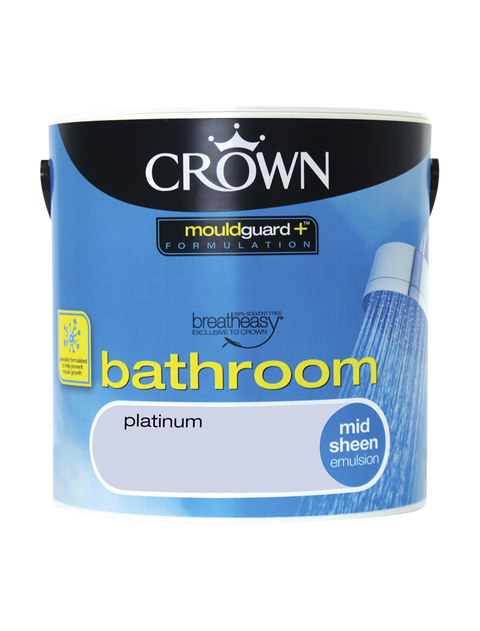 2.5L Crown Bathroom Mid Sheen Emulsion - Platinum