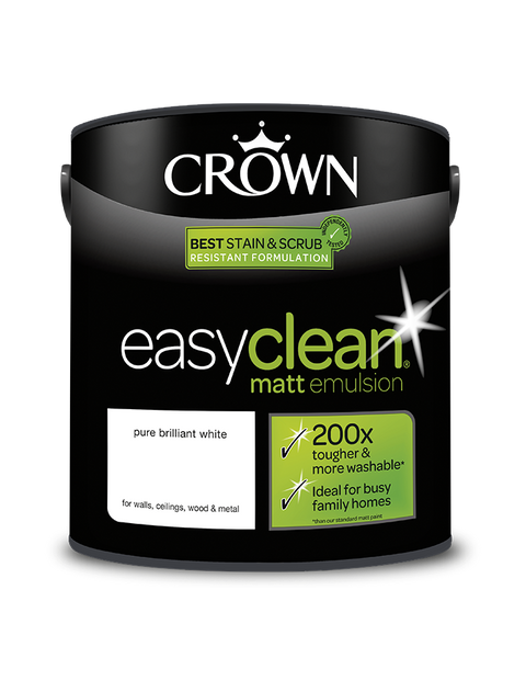 2.5L Crown Easyclean Matt Emulsion - Pure Brilliant White