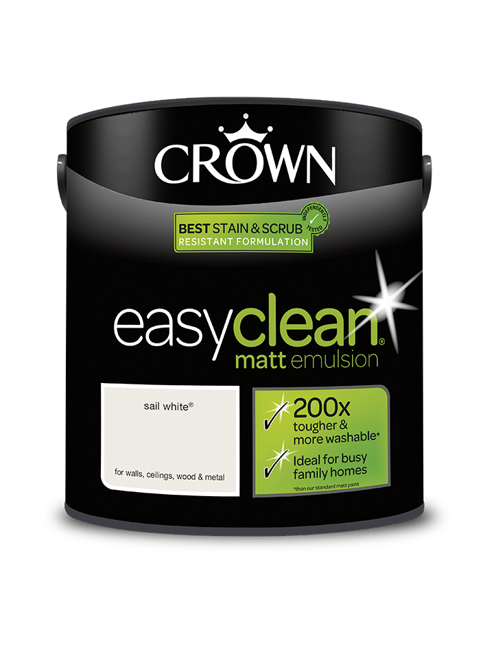 2.5L Crown Easyclean Matt Emulsion - Sail White