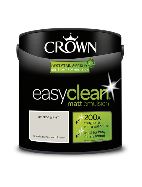 2.5L Crown Easyclean Matt Emulsion - Smoked Glass