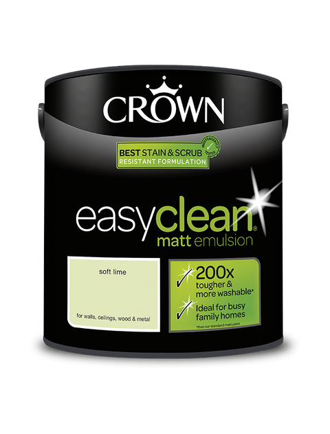 2.5L Crown Easyclean Matt Emulsion - Soft Lime