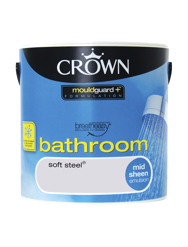 2.5L Crown Bathroom Mid Sheen Emulsion - Soft Steel