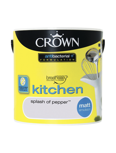 2.5L Crown Kitchen Matt Emulsion - Splash of Pepper