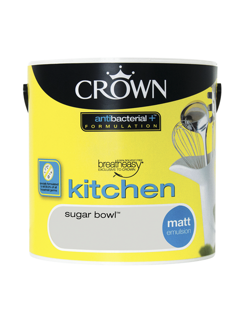 2.5L Crown Kitchen Matt Emulsion - Sugar Bowl