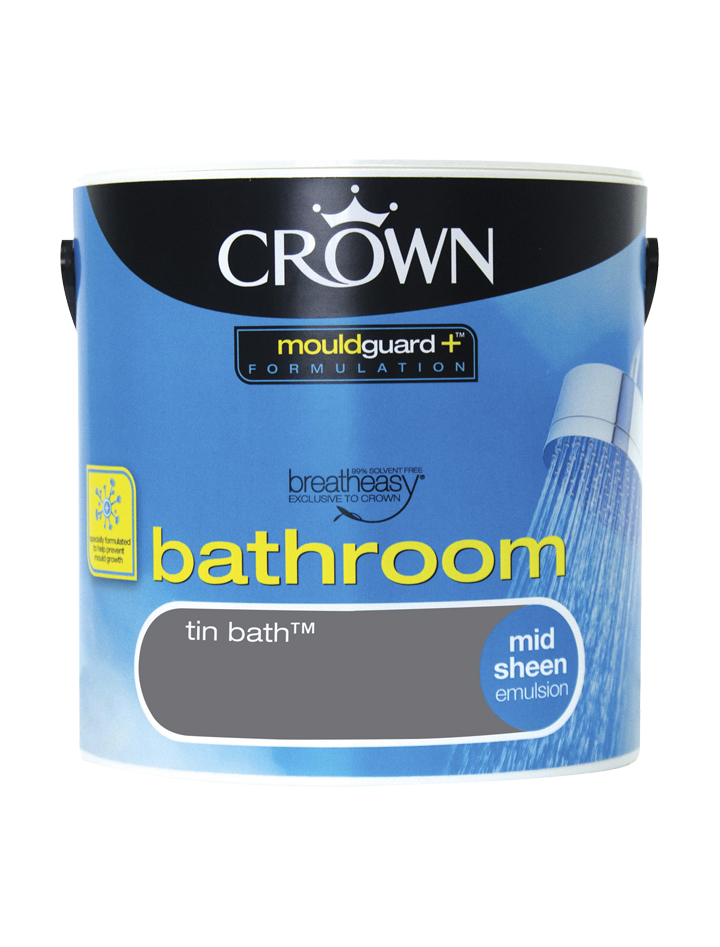 2.5L Crown Bathroom Mid Sheen Emulsion - Tin Bath