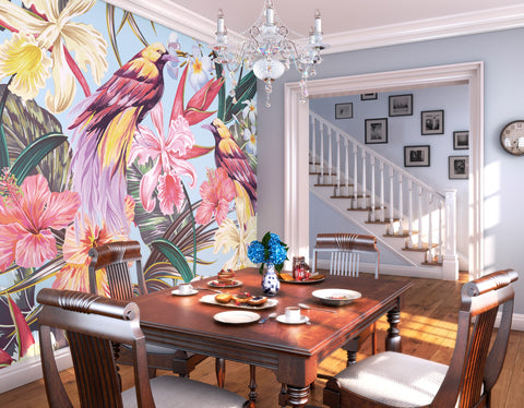 Tropical Exotic Flowers and Birds Mural