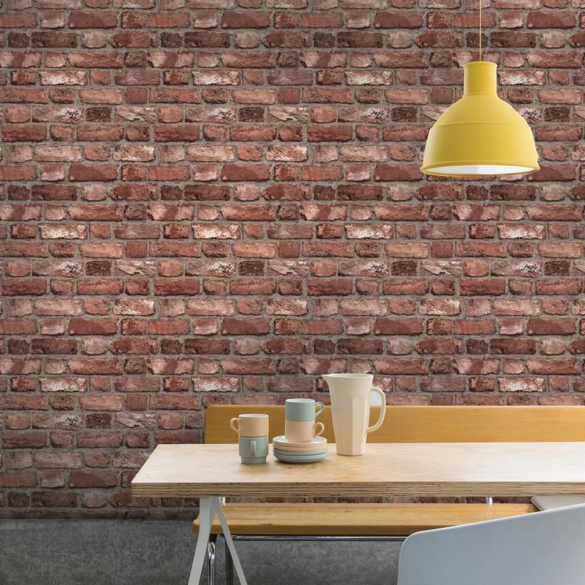 Realistic red brick wallpaper in dining room