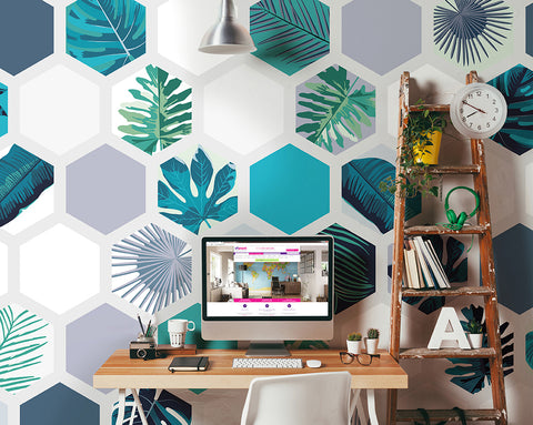 Botanical Hexagonal Prisms Mural