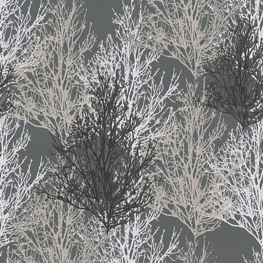 Black And Silver Trees Wallpaper Glitter And Shimmer Effect 34819 4