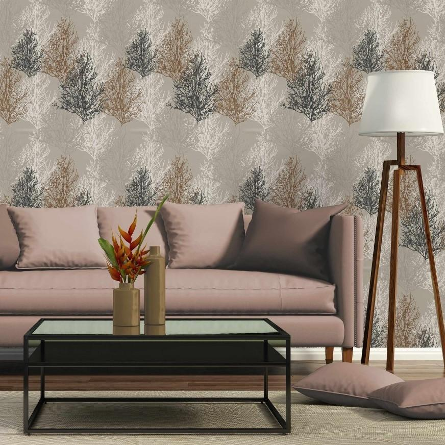 A S Creation Wallpapers AS Champagne & Bronze Trees Wallpaper