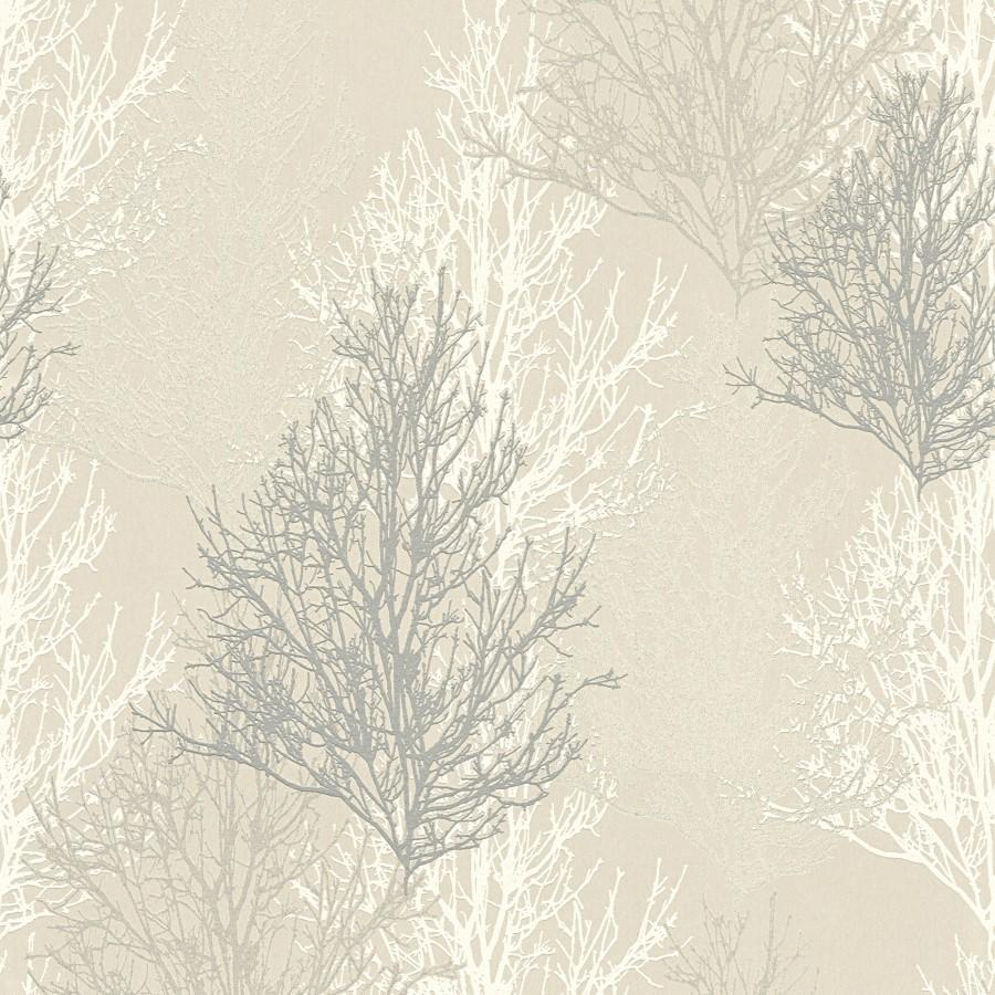 A S Creation Wallpapers AS White & Silver Trees Wallpaper