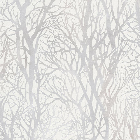 A S Creation Wallpapers Life 3 Silver / White Woodland Wallpaper