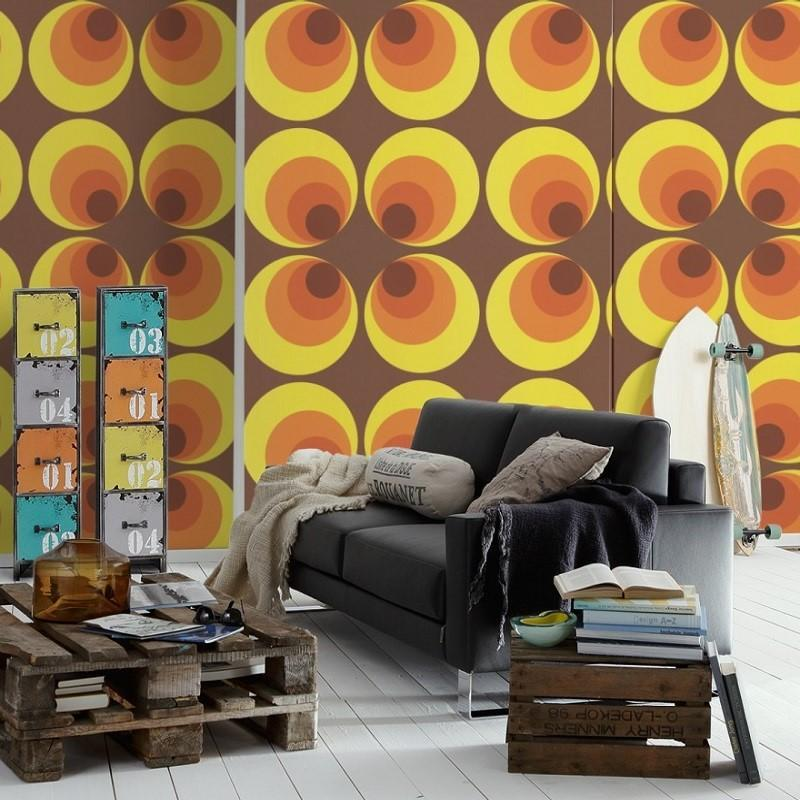 A S Creation Wallpapers Retro Deluxe Yellow and Orange Circles Wallpaper