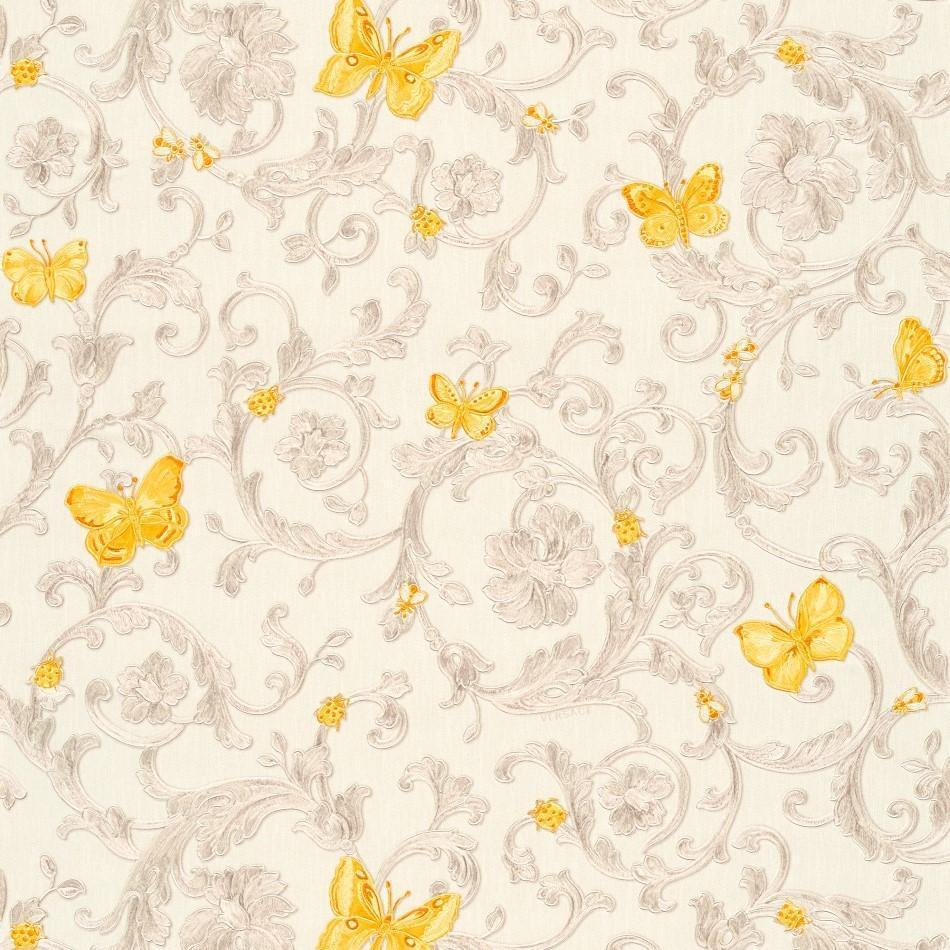 A S Creation Wallpapers Versace Apricot Gold Baroque Butterflies Wallpaper