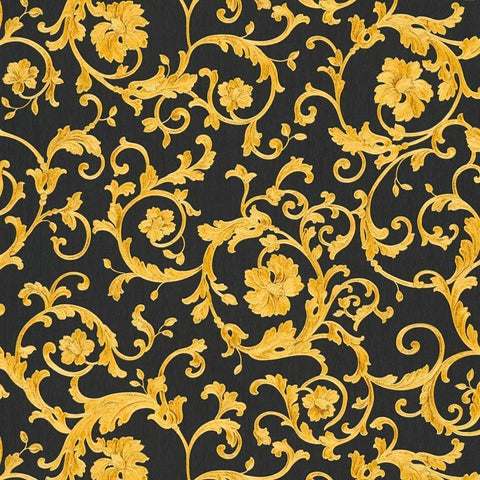 A S Creation Wallpapers Versace Black and Gold Baroque Trail Wallpaper