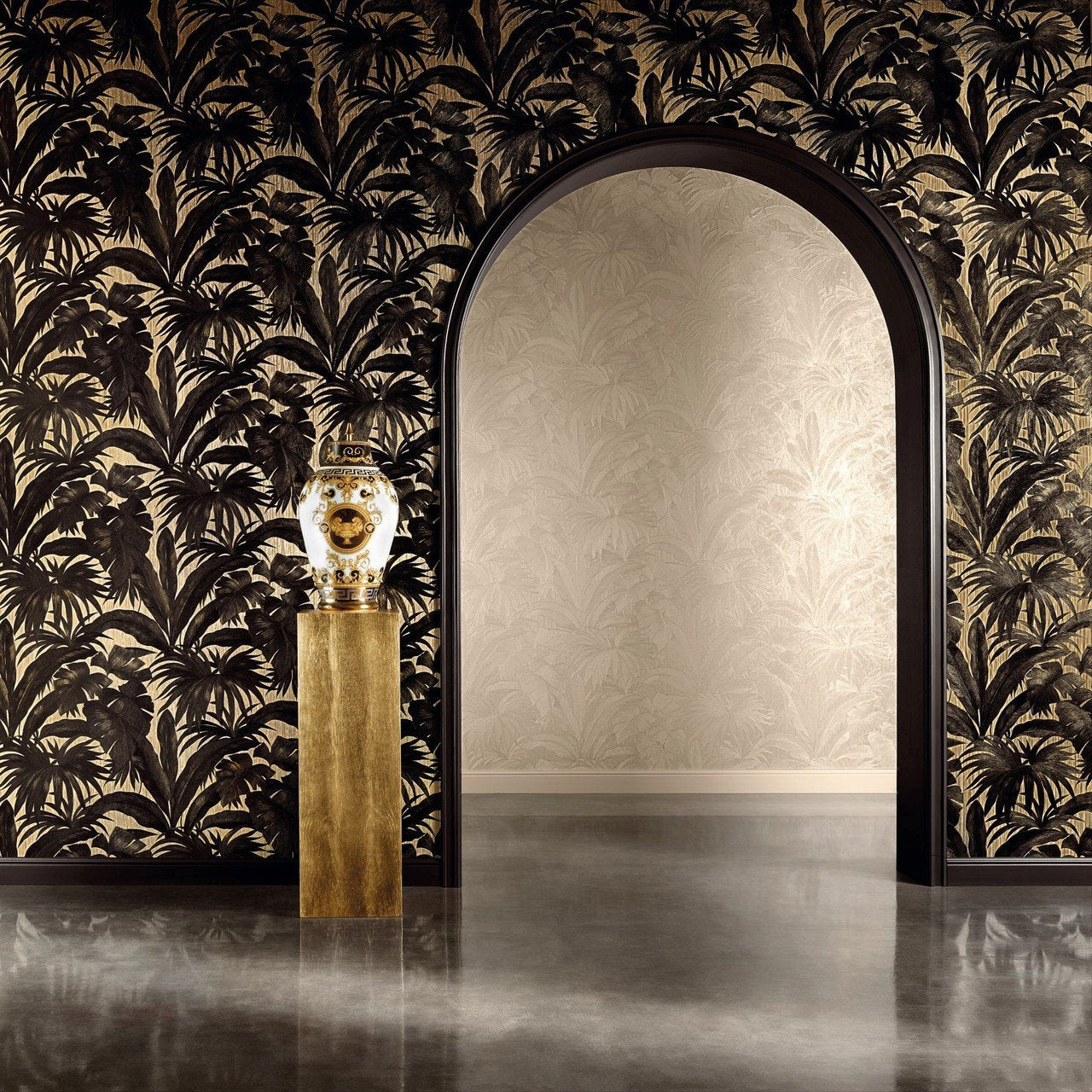 A S Creation Wallpapers Versace Black And Gold Palm Leaf Wallpaper