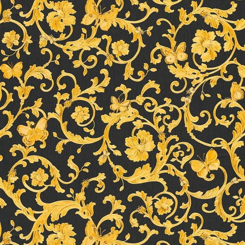 A S Creation Wallpapers Versace Black & Gold Baroque Butterflies Wallpaper