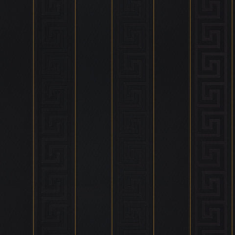 A S Creation Wallpapers Versace Black Greek Key Stripe Wallpaper