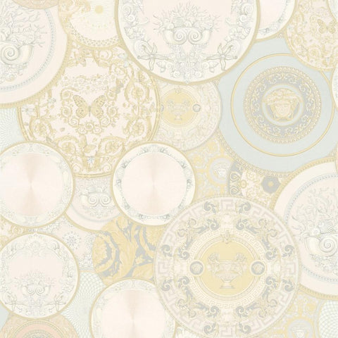 A S Creation Wallpapers Versace Cream Plates Wallpaper