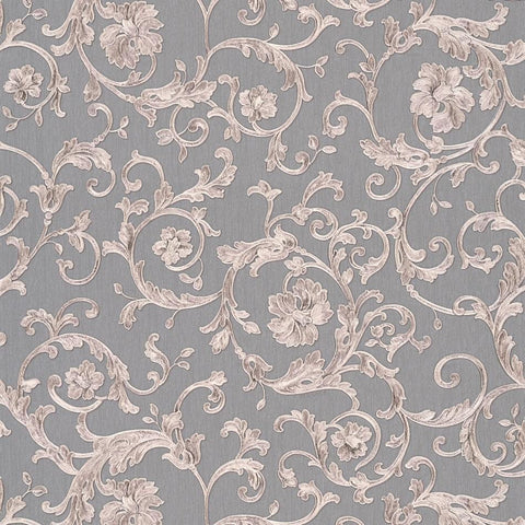 A S Creation Wallpapers Versace Grey and Silver Baroque Trail Wallpaper