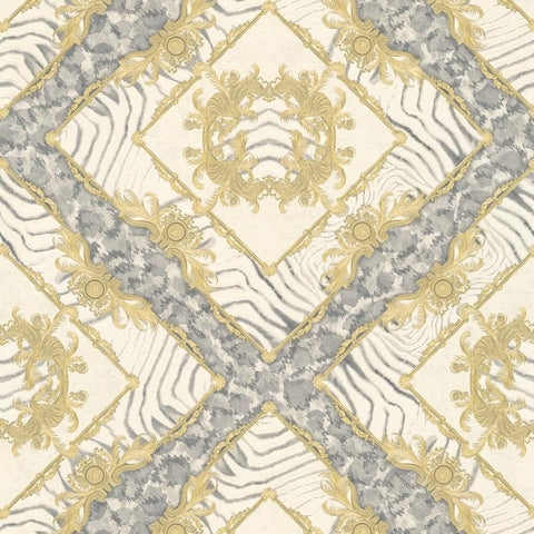 A S Creation Wallpapers Versace Grey & Gold Abstract Damask Wallpaper