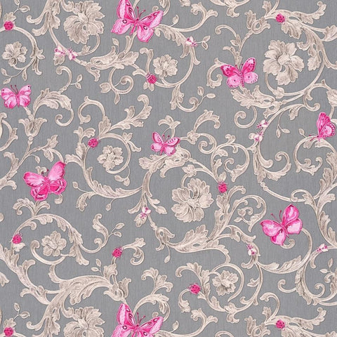 A S Creation Wallpapers Versace Grey / Pink Baroque Butterflies Wallpaper