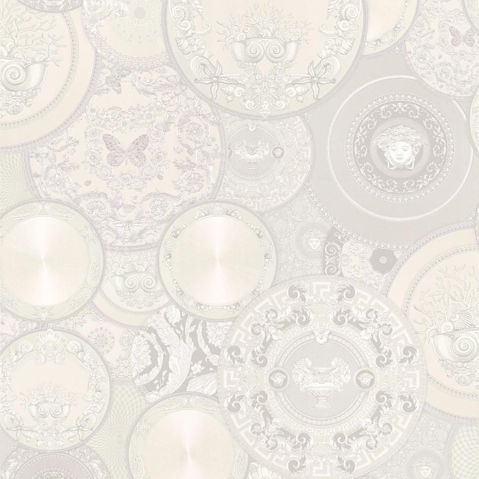A S Creation Wallpapers Versace Pale Grey Plates Wallpaper