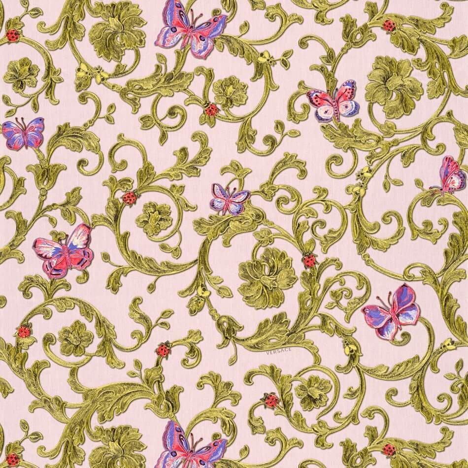 A S Creation Wallpapers Versace Pink / Gold Baroque Butterflies Wallpaper