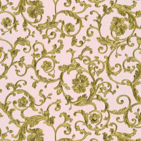 A S Creation Wallpapers Versace Pink / Gold Baroque Trail Wallpaper