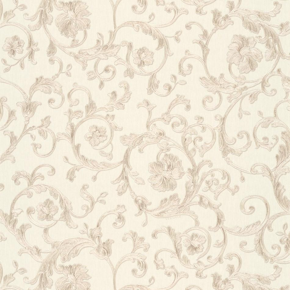 A S Creation Wallpapers Versace White and Silver Baroque Trail Wallpaper