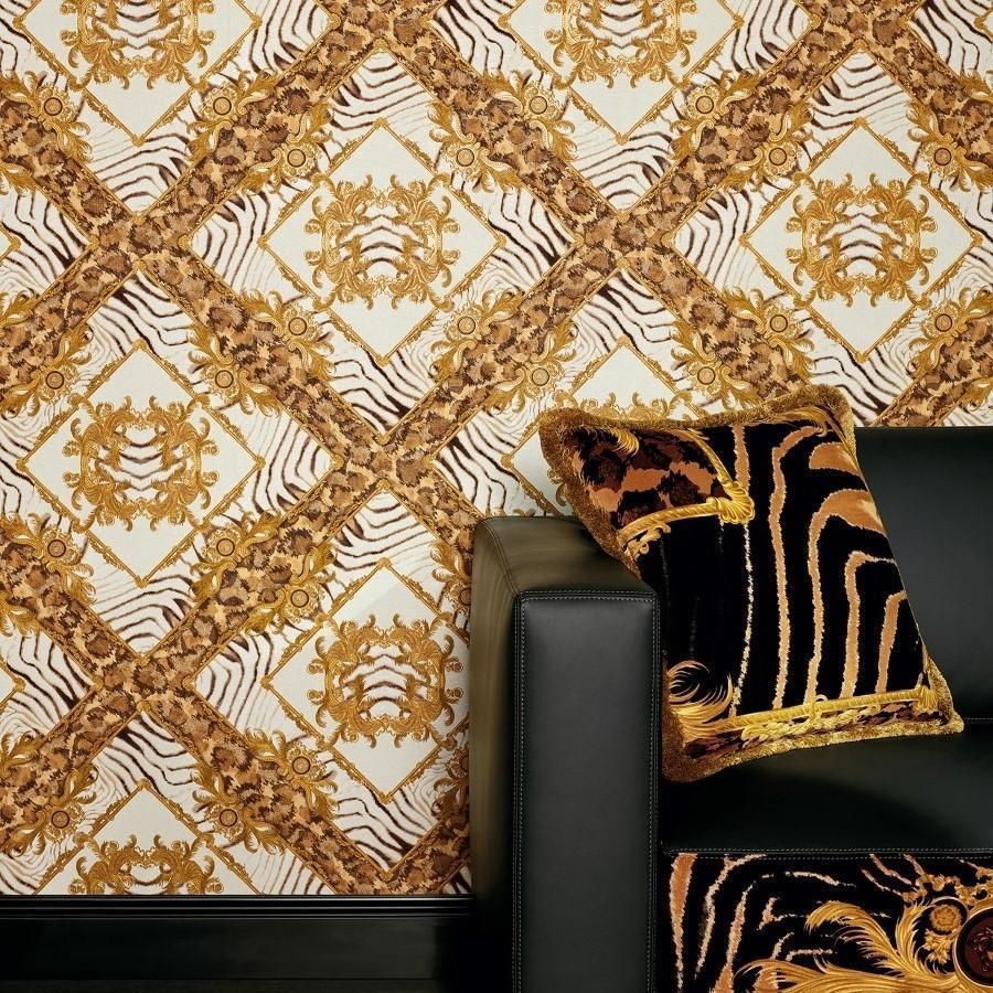 Versace White Gold Abstract Damask Wallpaper