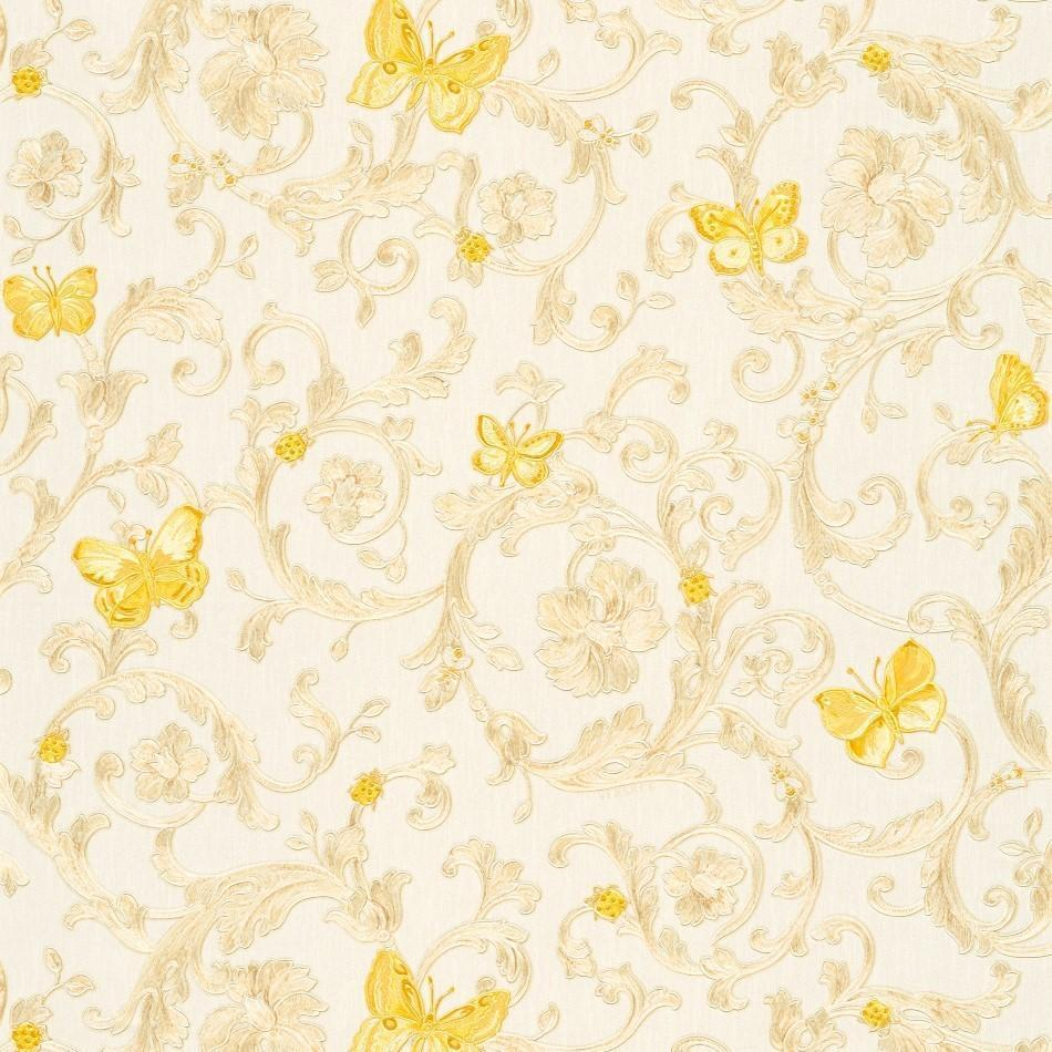 A S Creation Wallpapers Versace White / Gold Baroque Butterflies Wallpaper